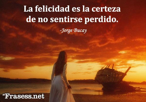 Frases de Jorge Bucay - La felicidad es la certeza de no sentirse perdido.