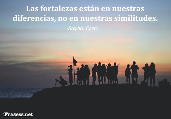 Frases de trabajo en equipo - Las fortalezas están en nuestras diferencias, no en nuestras similitudes.