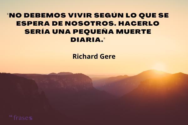 Frases de Richard Gere - No debemos vivir según lo que se espera de nosotros. Hacerlo sería una pequeña muerte diaria.