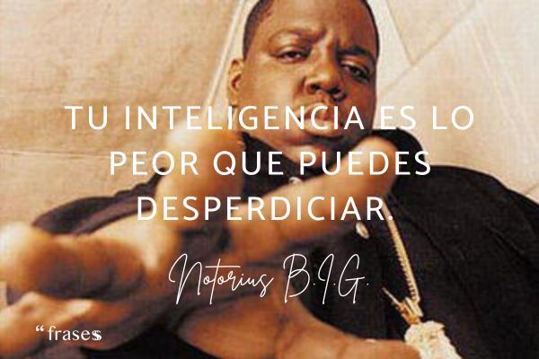 Frases de Notorious B.I.G. - Tu inteligencia es lo peor que puedes desperdiciar.