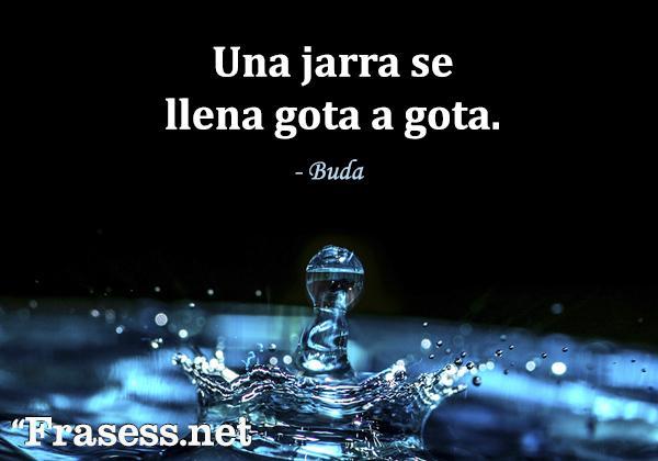 Frases de Buda - Una jarra se llena gota a gota.