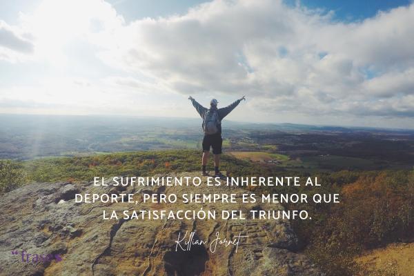 Frases de Kilian Jornet - El sufrimiento es inherente al deporte, pero siempre es menor que la satisfacción del triunfo.