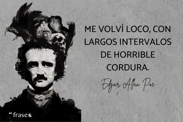 Frases de Edgar Allan Poe - Me volví loco, con largos intervalos de horrible cordura.