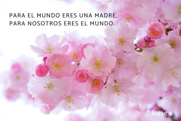 Frases para una madre fallecida - Para el mundo eres una madre, para nosotros eres el mundo.