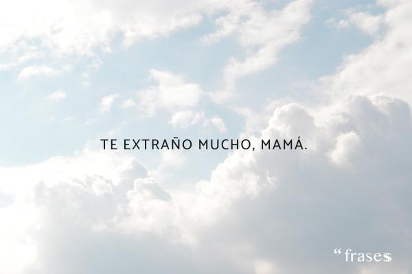 Frases para una madre fallecida - Te extraño mucho, mamá.