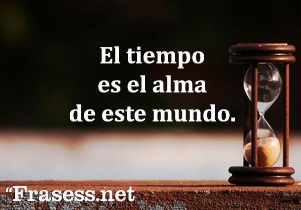 Frases sobre el tiempo - El tiempo es el alma de este mundo.