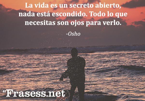 Las mejores frases de Osho - La vida es un secreto abierto, nada está escondido. Todo lo que necesitas son ojos para verlo.