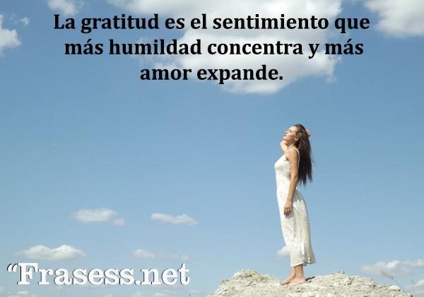 Frases de agradecimiento - La gratitud es el sentimiento que más humildad concentra y más amor expande.