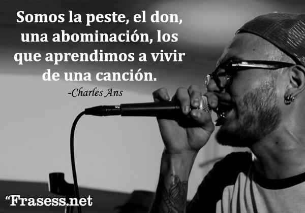 Frases de Charles Ans - Somos la peste, el don, una abominación, los que aprendimos a vivir de una canción.