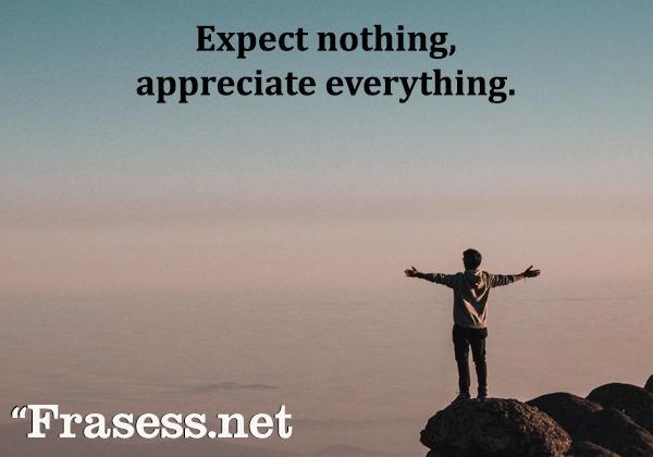 Frases positivas para subir el ánimo cada día - Expect nothing, appreciate everything. (No esperes nada, estate agradecido por todo)