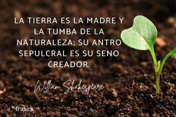 Frases sobre la Tierra - La Tierra es la madre y la tumba de la naturaleza; su antro sepulcral es su seno creador.