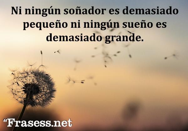 Frases de sueños - Ni ningún soñador es demasiado pequeño ni ningún sueño es demasiado grande.