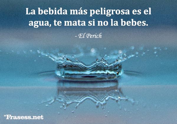 Frases sobre el agua - La bebida más peligrosa es el agua, te mata si no la bebes.
