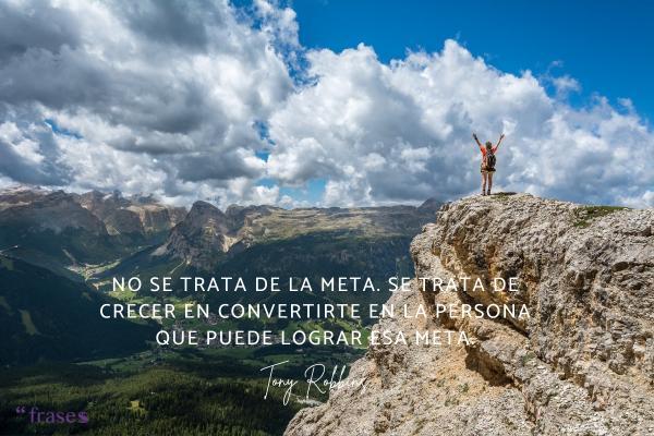 Frases de Tony Robbins - No se trata de la meta. Se trata de crecer en convertirte en la persona que puede lograr esa meta.