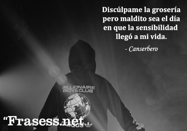 Frases de Canserbero - Discúlpame la grosería pero maldito sea el día en que la sensibilidad llegó a mi vida.