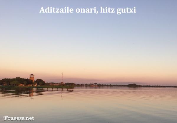 Frases bonitas en Euskera - Aditzaile onari, hitz gutxi (Un buen oyente necesita pocas palabras)
