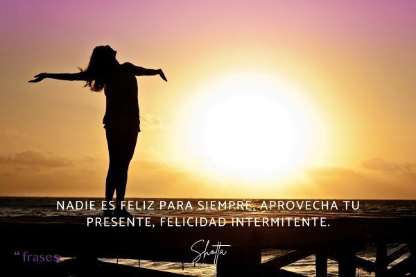 Frases de Shotta - Nadie es feliz para siempre, aprovecha tu presente, felicidad intermitente.