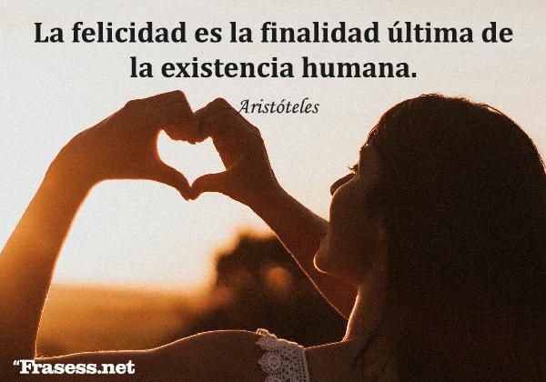 Frases de valoración - La felicidad es la finalidad última de la existencia humana.