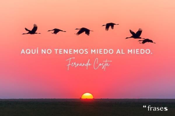 Frases de Fernando Costa - Aquí no tenemos miedo al miedo.