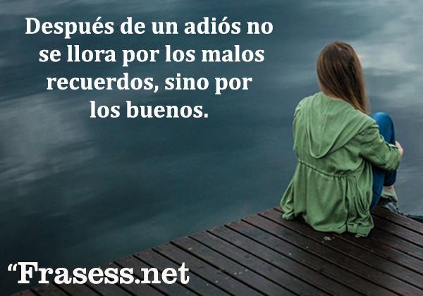 Frases de la vida es dura - Después de un adiós no se llora por los malos recuerdos, sino por los buenos.