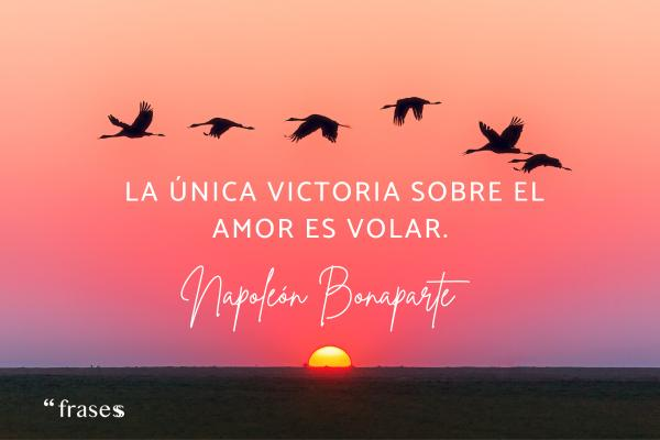 Frases de Napoleón Bonaparte - La única victoria sobre el amor es volar.