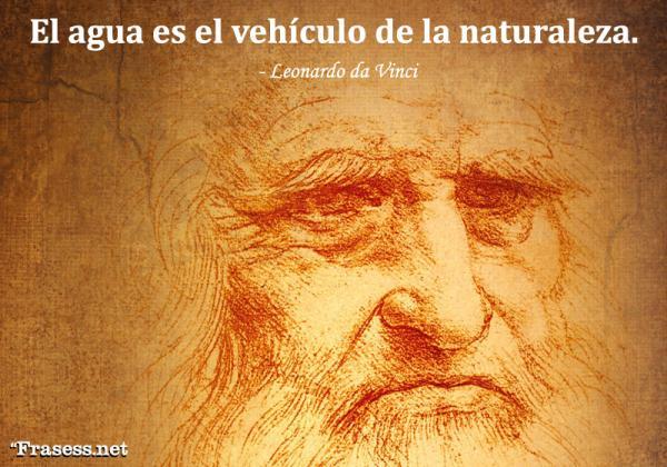 Frases de Leonardo da Vinci - El agua es el vehículo de la naturaleza.