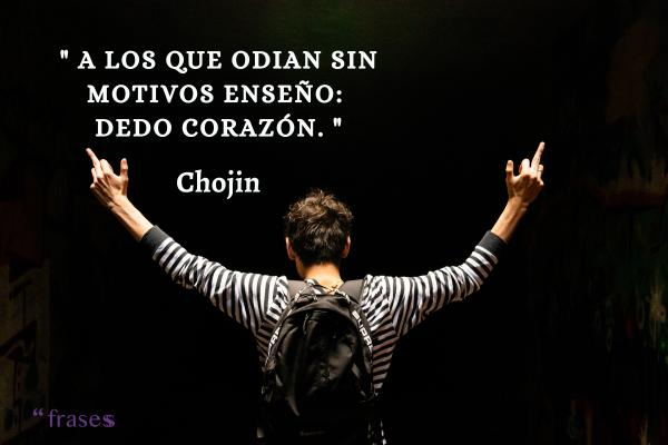 Frases de El Chojín - A los que odian sin motivos enseño: Dedo Corazón.