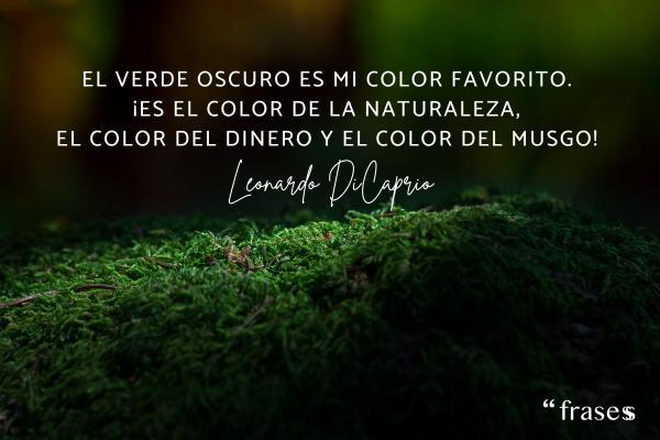 Frases de Leonardo Dicaprio - El verde oscuro es mi color favorito. ¡Es el color de la naturaleza, el color del dinero y el color del musgo!
