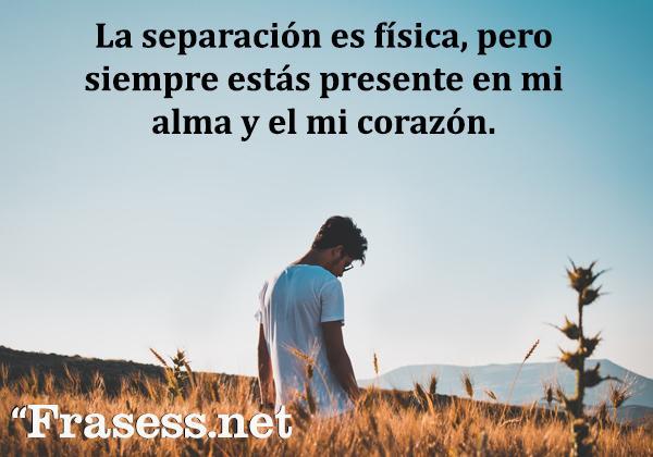 Frases de extrañar - La separación es física, pero siempre estás presente en mi alma y el mi corazón.
