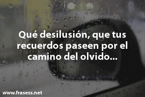 Frases de desilusión - Qué desilusión que tus recuerdos paseen por el camino del olvido...