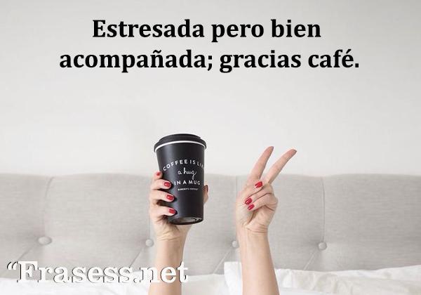 Frases de café - Estresada pero bien acompañada; gracias café.
