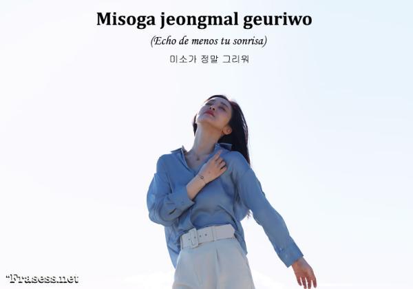Frases en coreano de amor y su significado - 미소가 정말 그리워 (Misoga jeongmal geuriwo) Echo de menos tu sonrisa.