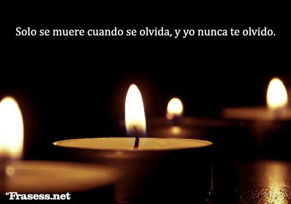 Frases para recordar a un ser querido fallecido - Solo se muere cuando se olvida, y yo nunca te olvido.