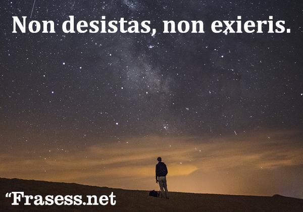 Frases en latín traducidas - Non desistas, non exieris. (No desistas, no te rindas)