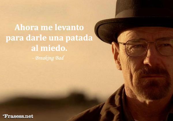 Frases de Breaking Bad - Ahora me levanto para darle una patada en los dientes al miedo.
