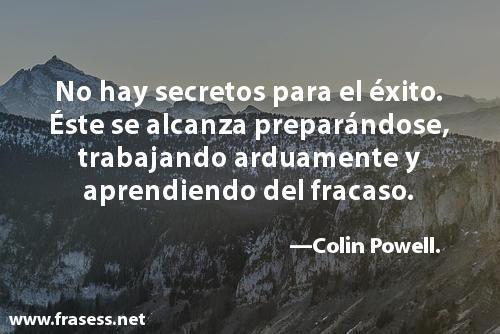Frases de éxito cortas - No hay secretos para el éxito. Este se alcanza preparándose, trabajando arduamente y aprendiendo del fracaso.