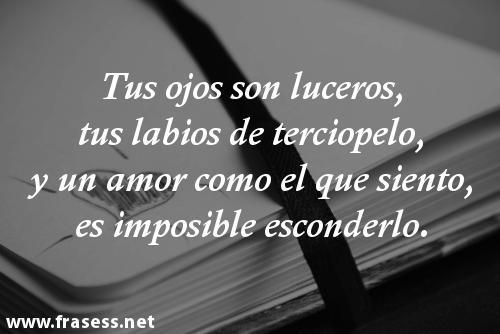 Poemas de amor cortos y románticos - Tus ojos son luceros, tus labios de terciopelo, y un amor como el que siento, es imposible esconderlo.