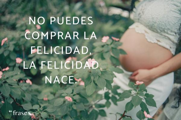 Frases graciosas para anunciar un embarazo - No puedes comprar la felicidad, la felicidad nace.