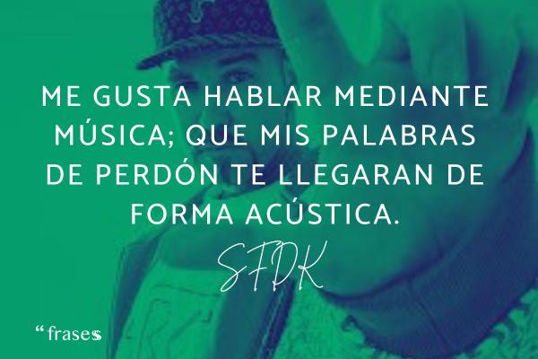 Frases de SFDK - Me gusta hablar mediante música; que mis palabras de perdón te llegaran de forma acústica.