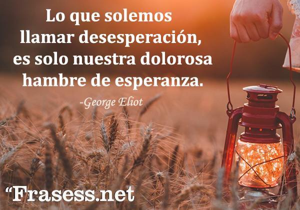 Frases de desesperación - Lo que solemos llamar desesperación, es solo nuestra dolorosa hambre de esperanza.