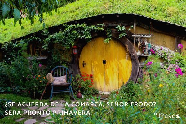 Frases de El Señor de los Anillos - ¿Se acuerda de La Comarca señor Frodo? Será pronto primavera. Los huertos estarán todos en flor y en la Avellaneda los pájaros tendrán listos sus nidos.