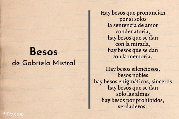 Poemas de Gabriela Mistral - Besos