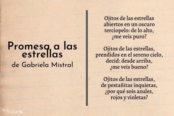 Poemas de Gabriela Mistral - Promesa a las estrellas