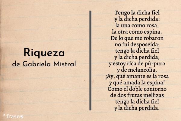 Poemas de Gabriela Mistral - Riqueza