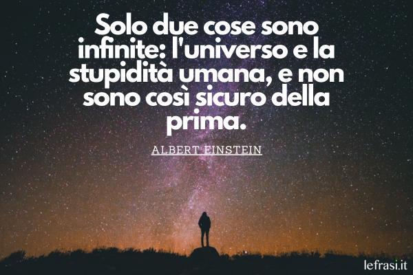 Frasi sullo spazio - Solo due cose sono infinite: l'universo e la stupidità umana, e non sono così sicuro della prima.