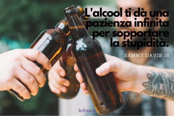 Frasi sul bere - L'alcool ti dà una pazienza infinita per sopportare la stupidità.