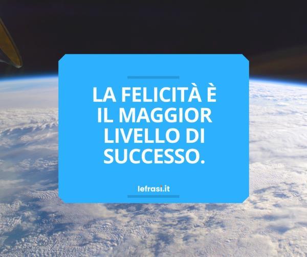 Frasi sulla Felicità - La felicità è il maggior livello di successo.